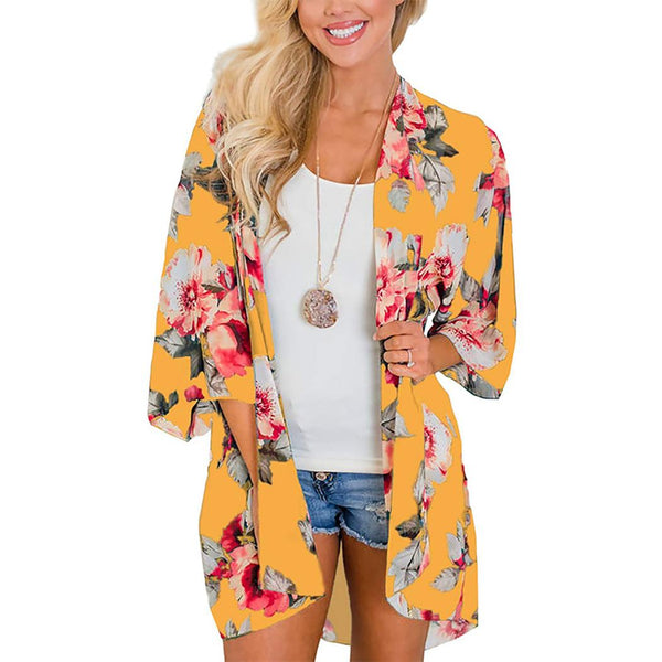 Women Casual 3/4 Sleeve Print Loose Beach Sun Protection Cardigan