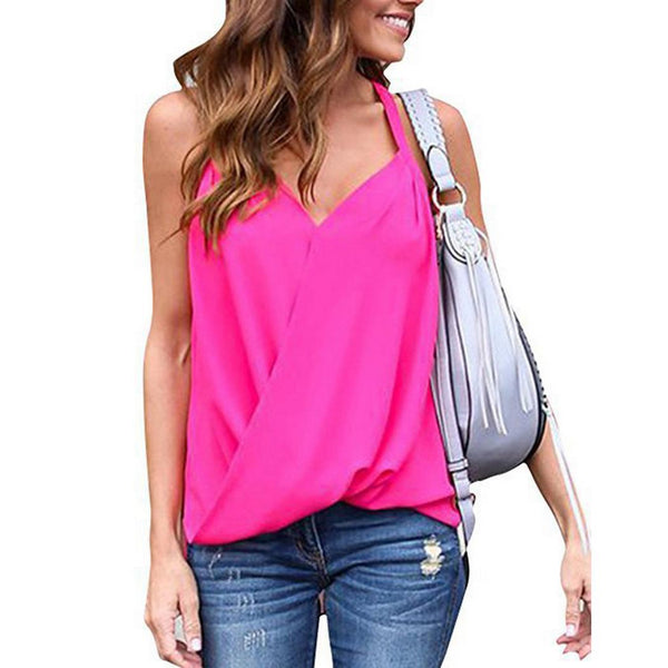 Women Casual Camisole Pullover Tanks Tops V-Neck Solid Vest