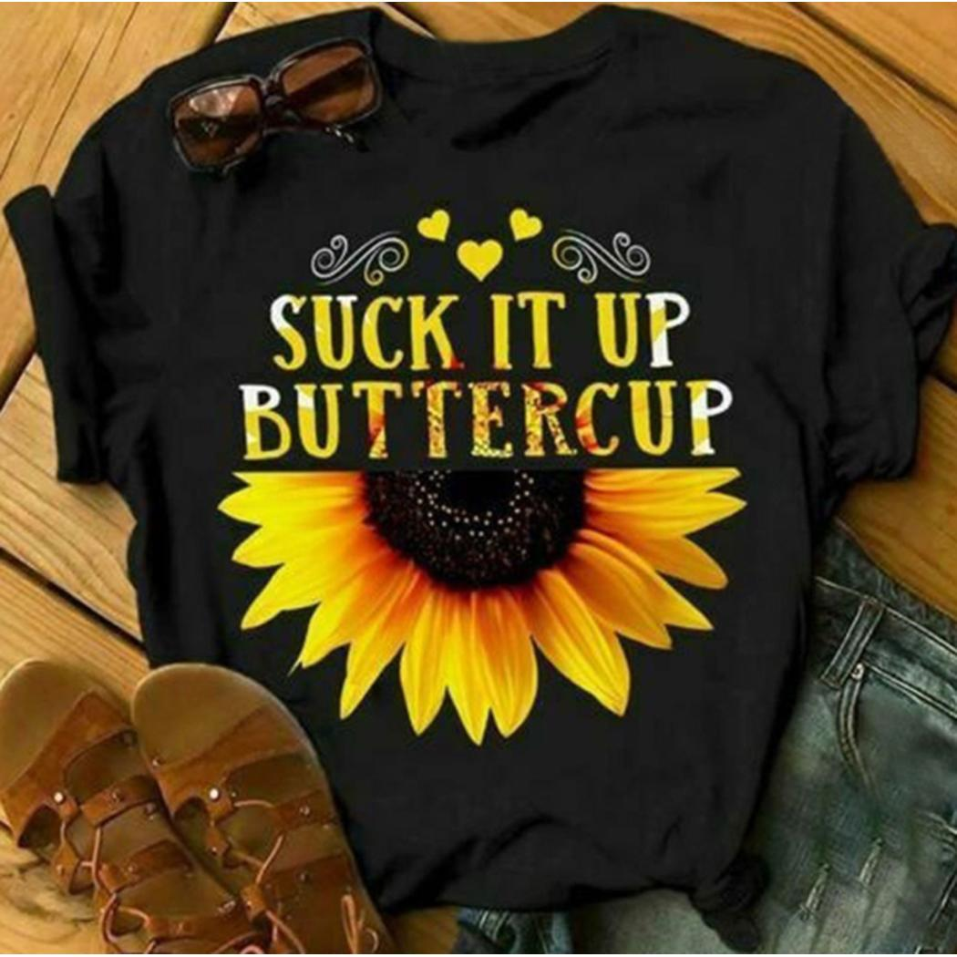 Women Casual Sunflower Printed Short Sleeve O Neck T-shirt Top