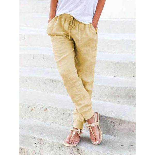 Women Casual Drawstring Cotton Linen Rib Pencil Pants Trousers