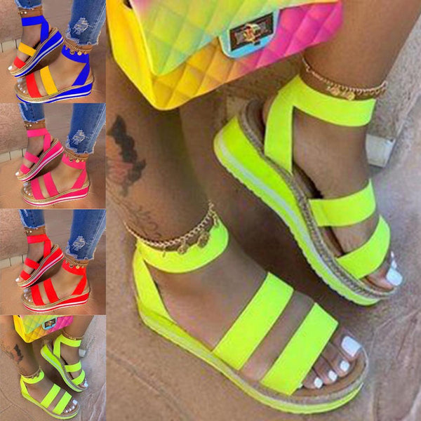 New Fashion Women Wedge Heel Bright Colors Sandals