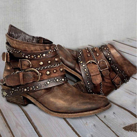 Women Artificial PU Round Toe Hasp Rivets Short Boots