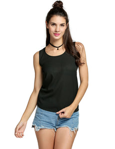 Hot Fashion Casual Women O-Neck Sleeveless Shirt Chiffon Tank Tops