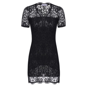 Women's Sexy V Neck Short Sleeve Lace Bodycon Party Mini Dress