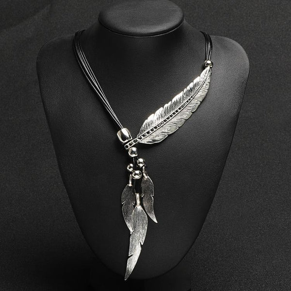 Fashion Bohemian Style Bronze Rope Chain Feather Pattern Pendant  Necklace