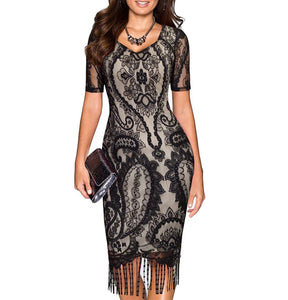 Short Sleeve V Neck Vintage Styles Lace Patchwork Fringe Party Dress