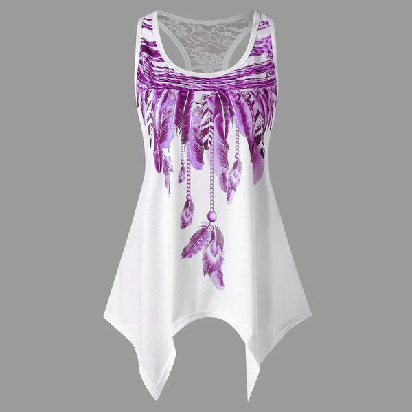 Summer Women Casual Feather Printed Irregular Hem O Neck Tank Top
