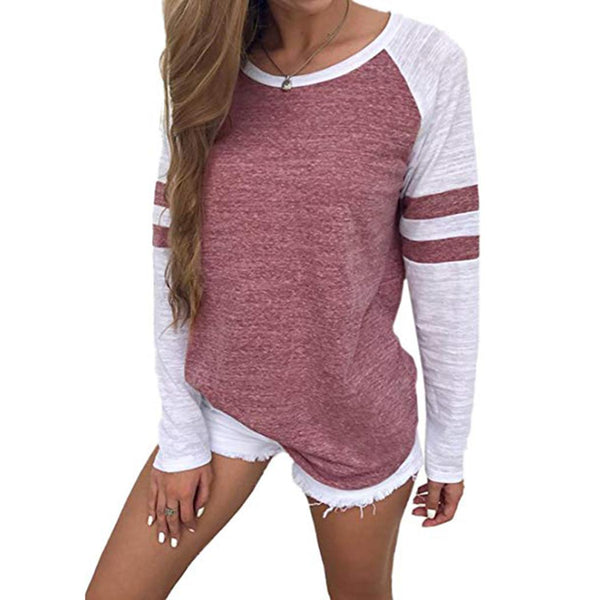 Women Casual O Neck Long Sleeve Patchwork Stripe Tee Tops
