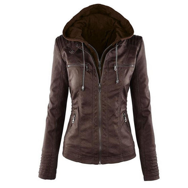 Women Casual Hooded Long Sleeve Double Zip Jacket Coat Outwear