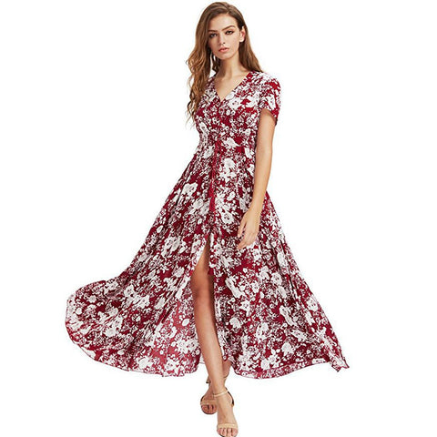 Women Casual V Neck Short Sleeve Floral Bowknot A Line Split Dress