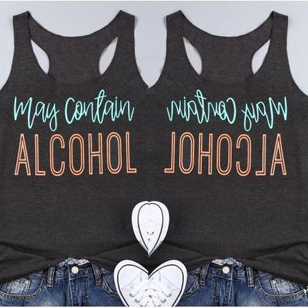 Women Summer Fashion Letter Printed Tank Top O Neck Loose Top