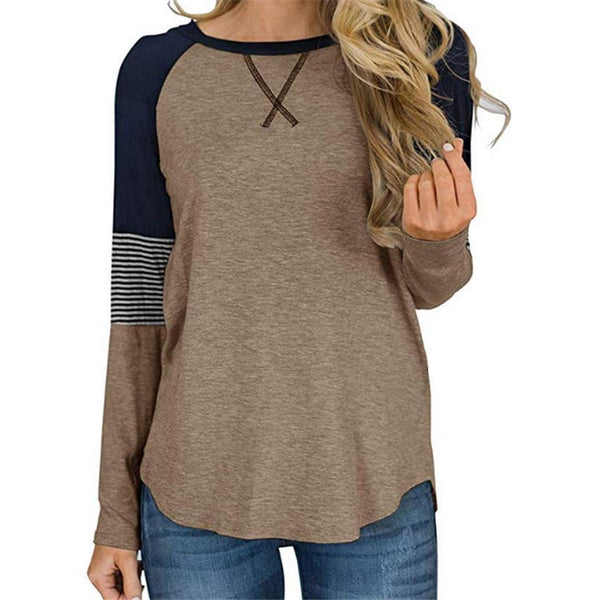 Women Summer Casual T-shirt Patchwork O-Neck Long Sleeve Loose Tops