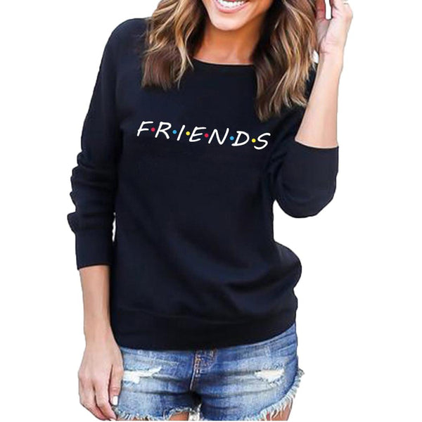 Women Casual Long Sleeve O Neck Letter Print Thick Pullover Sweatshirt