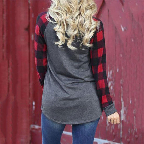 Women Casual Long Sleeve Patchwork Shirt O-Neck Autumn LooseTops