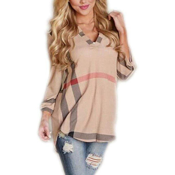 Women Casual 2/3 Sleeve Plaid Shirt V-Neck Loose Tunic Pullover Tops