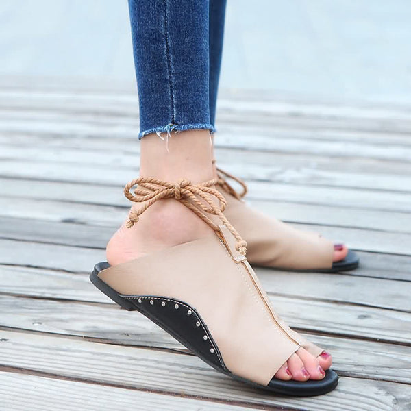 Fish Mouth Buckle Strap Flat Sandals