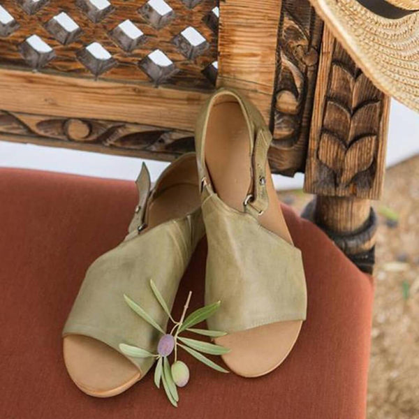 Open Toe Closed Back Flat Sandals