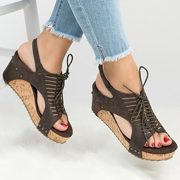 Front Lace Up Fish Mouth Wedge Sandals