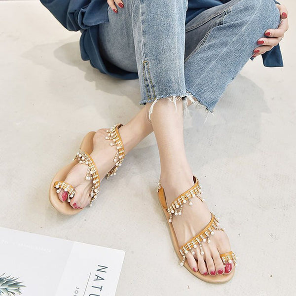 Pearl Decor Slip On Flat Sandals
