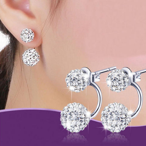 Fashion Women Elegant Rhinestone Round Earrings Ear Studs