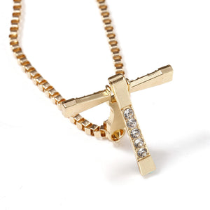 New Fashion Women Cross Shape Charm Metal Chain Rhinestones Pendant Jewelry Necklace