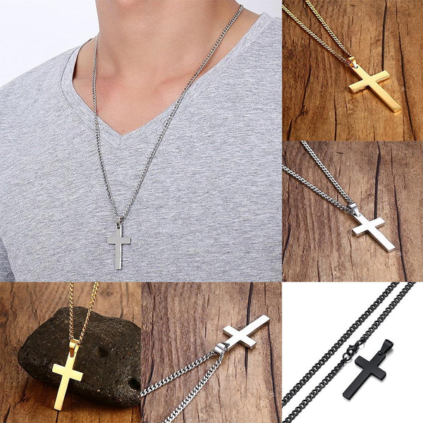 Stainless Steel Cross Pendant Chain Necklace for Men Women Jewelry Gift