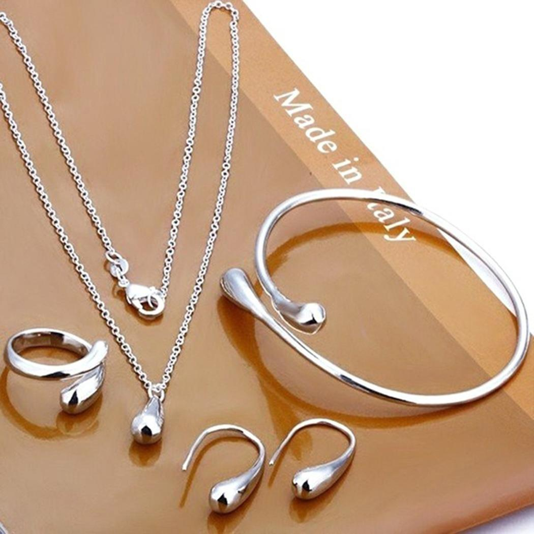 Women Fashion Jewelry Set Silver Water Drop Necklace Earring Ring Bangle Set