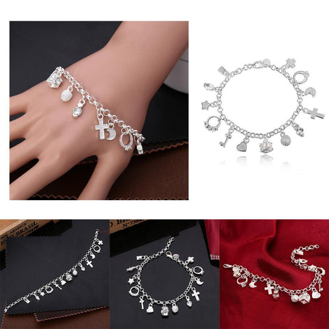 New 13 Themed Charm Bracelet Geometry Zircon Pendant Women Bracelet