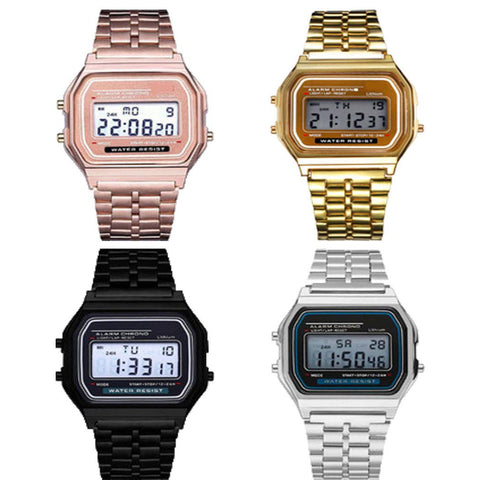 Men Stainless Steel Band LCD Digital Wrist Watch Sport Square Quartz Watches