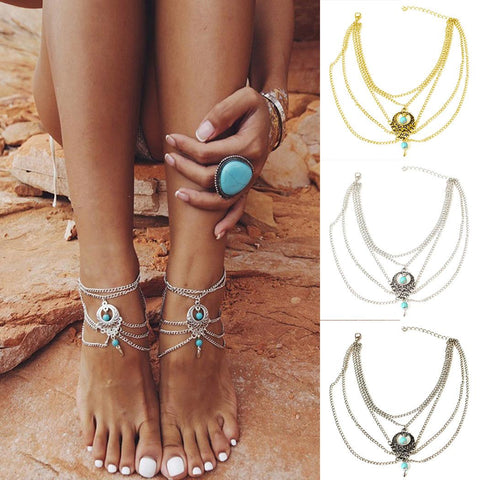 New Women Multi-layers Beach Barefoot Ankle Jewelry Chain Anklet