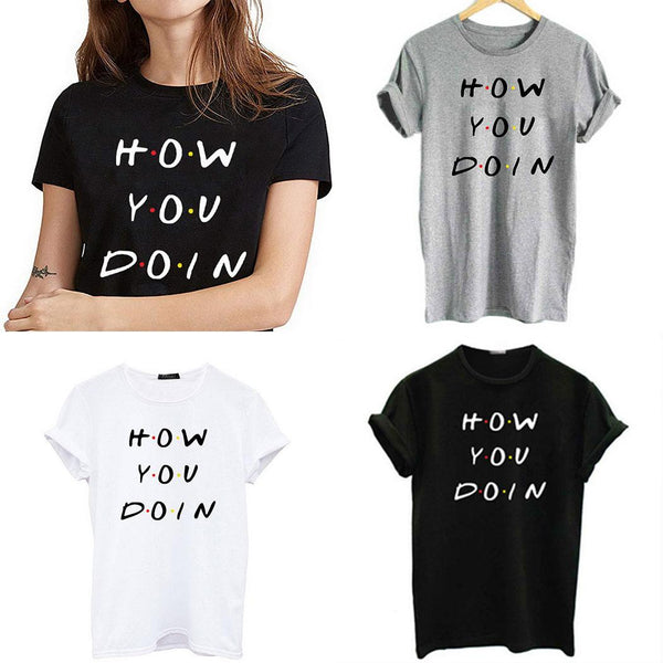 Women Casual Pullover Tops O-Neck Short Sleeve Letter Loose Fit T-shirt