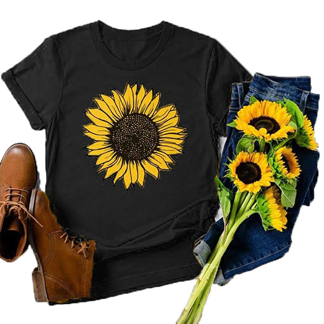 Women Short Sleeve T-shirt Casual O-neck Sunflower Printed Summer Tee Tops