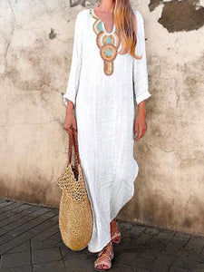 Plus Size V-Neck Women White Daily Long Sleeve Printed Tribal Dress