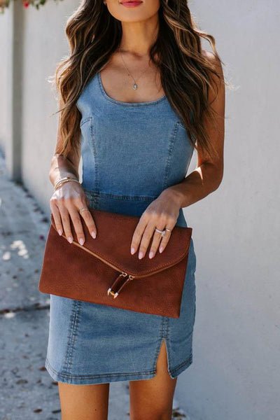 Denim Slit Hip Dress