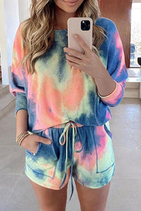 Tie-dye Drawstring Two-piece Set
