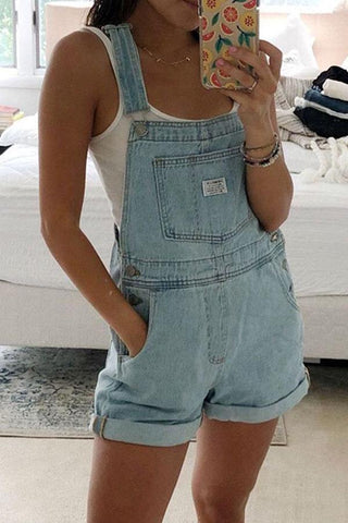 Light Blue Rolled Hem Shorts Denim Overall