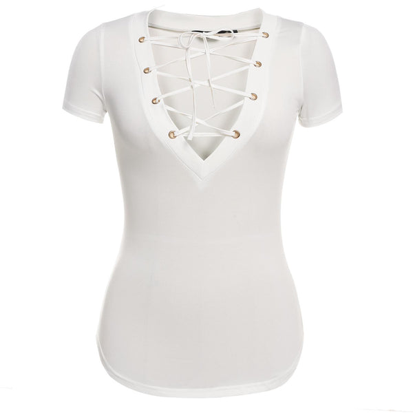 Women Sexy Front Cross Bandage Plunge V Neck Lace Up Thin Waist Slim Fit T-shirt