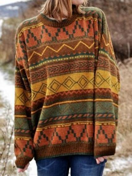 Multicolor Long Sleeve Geometric Boho Sweater
