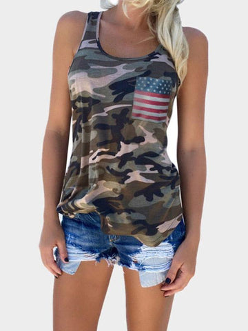 Women's  American Flag Printed Pocket Camo Tops-Tanks