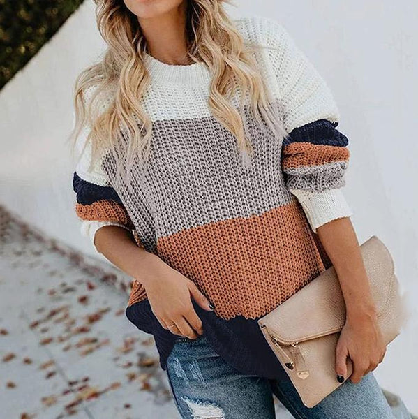 Casual Round Neck Long Sleeve Contrast Color Loose Sweater