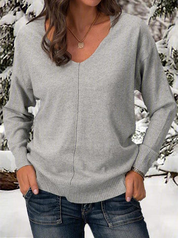 Solid Long Sleeve V-neck Knitted Sweaters