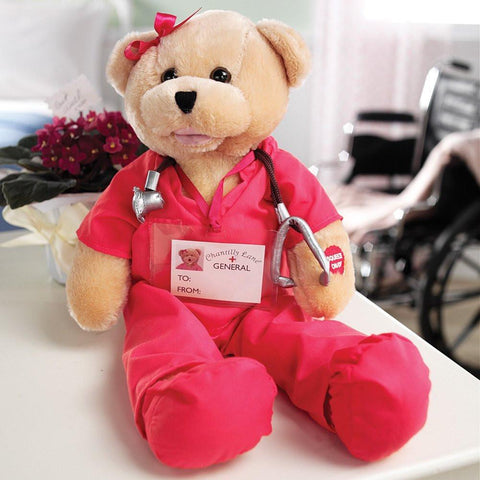 "Beautiful Pink Scrubs Bear. Head sways & mouth moves while singing, ""I'll Be There""."