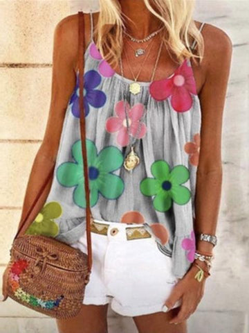 Women Flower Print Pleated Cute Camisole