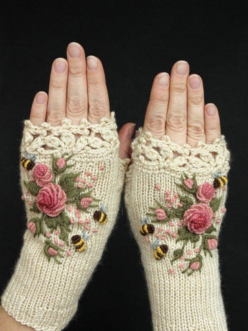Vintage Cotton-Blend White Gloves & Mittens