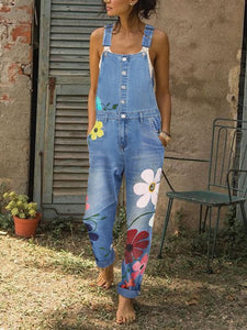 Sleeveless Denim Floral Floral-Print Jumpsuits