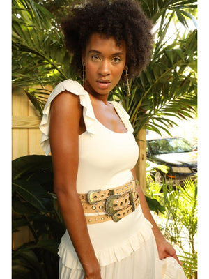 BELT - Gabiela Beige Leather with Gold - Size S|M-La Tucha-Default-Shirlanka-Wynwood-Miami