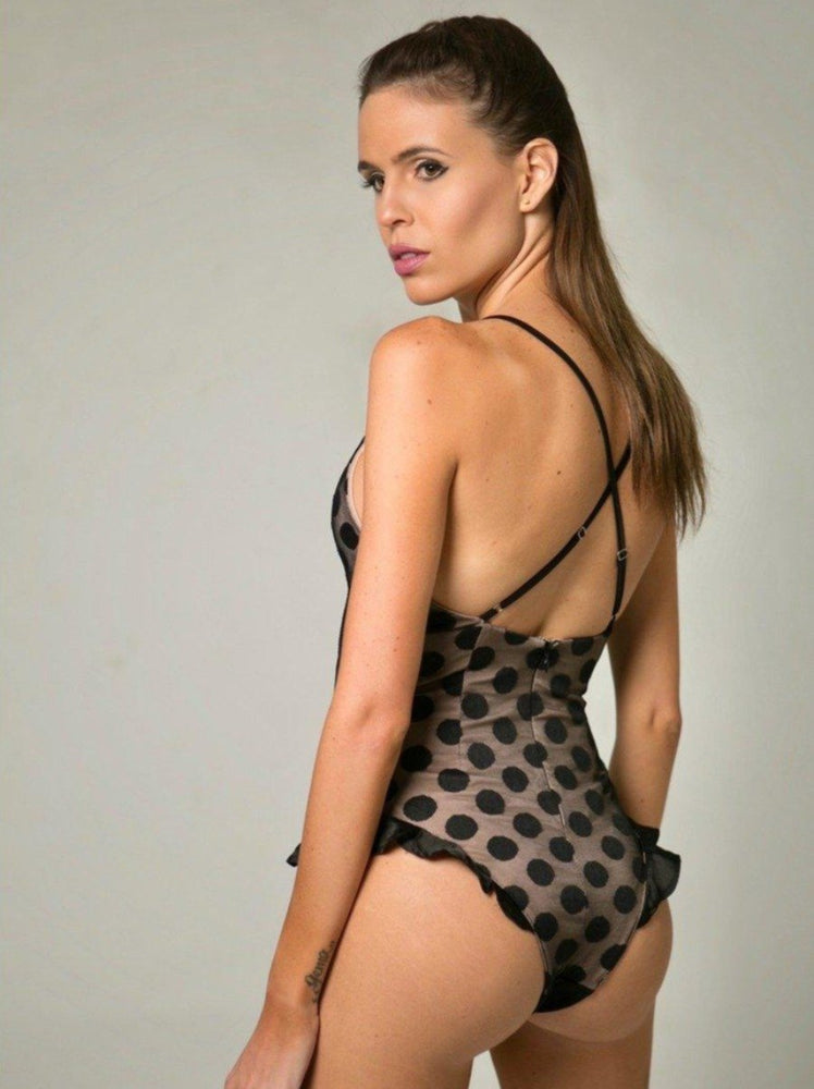 Load image into Gallery viewer, BODYSUIT - Maria Black & Nude Polka Dot-Emerging Designers-Shirlanka-Wynwood-Miami
