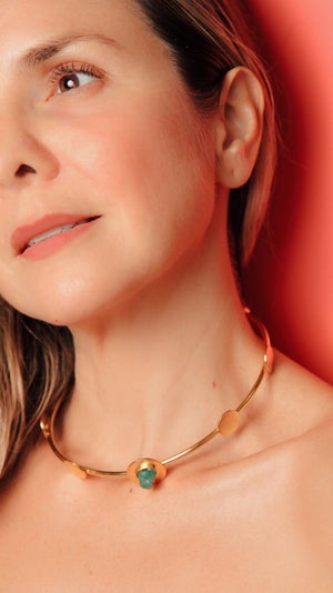 Load image into Gallery viewer, CHOKER - Debra 24k Gold With Emerald Accent-TAO-Default-Shirlanka-Wynwood-Miami