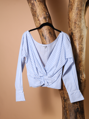 CROP TOP - Blue & White Bengal Stripe Double Cuff Wrap - Size 8-Zuly Niño-Default-Shirlanka-Wynwood-Miami