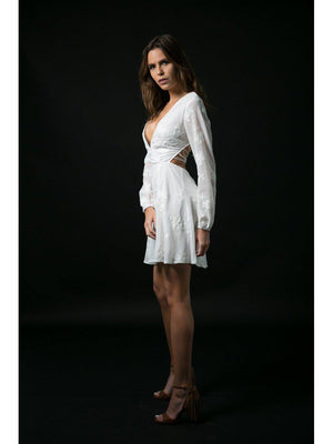 DRESS - Doria White Long Sleeve - Size|L-Emerging Designers-Default-Shirlanka-Wynwood-Miami